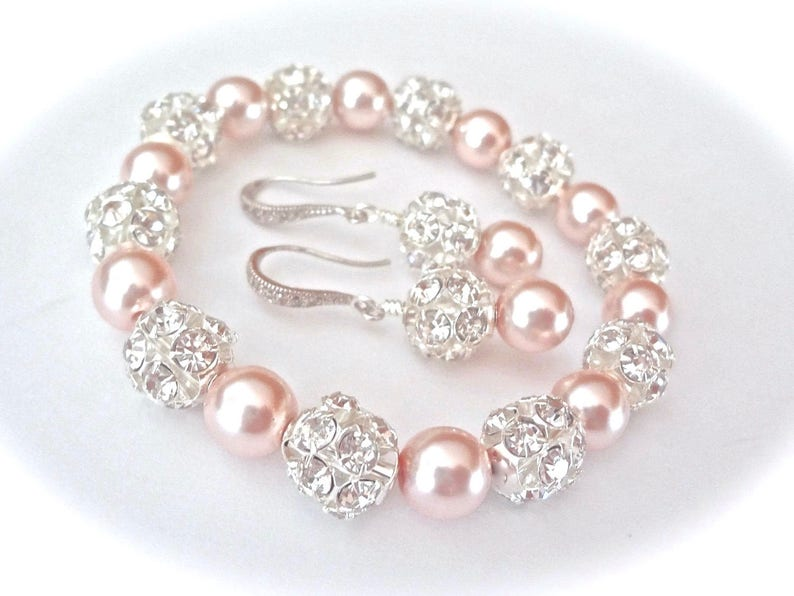 22690d2d244f Pulsera de perlas y pendientes conjunto perlas Swarovski grueso oído  esterlina cables de regalo para ella una novia damas de honor novias boda  joyería SHARP