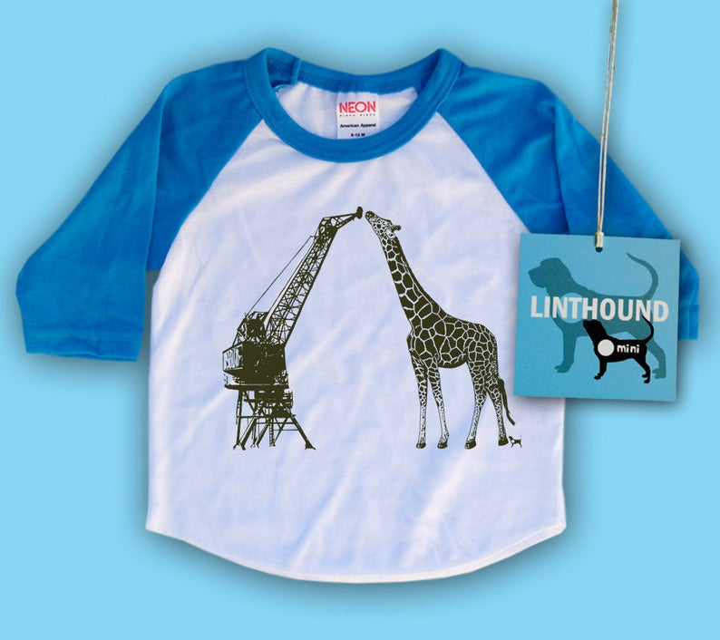 Mechanical Giraffe /& Natural Crane Baby Baseball T-Shirt CLEARANCE