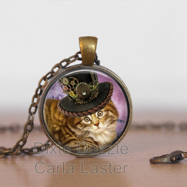 cat jewelry steampunk art Steampunk Tabby cat pendant inexpensive gift under 20 Cat lover gift art jewelry cat bow Steampunk jewelry