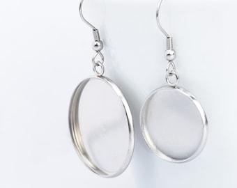 9e4ac72cd 316 Stainless Steel Earring Blank Bezel Blank Earring Base Earwires Hook  With Round Pad Earring Findings 20pcs 102789