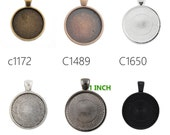 20PCS 25MM(1 inch ) Pendant trays, Round Zinc Alloy Cameo Cabochon Base Setting Pendants,fit 25mm cabochons C1650