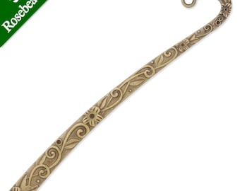 Bookmark Charm Antique Bronze Tone Fish and Wave Details 2 Sided BC266