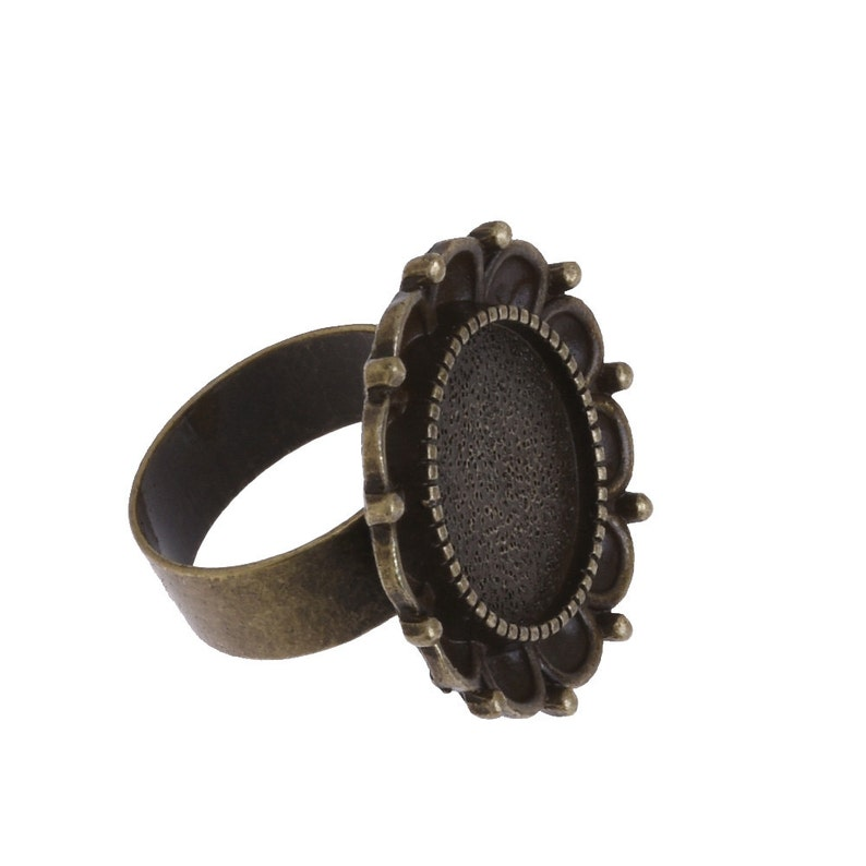 Flower Ring Base Findings 5 Vintage Ring Setting Cameo Ring Base Ring Mounting fit 16mm Round Cabochon