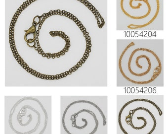 """20PCS 1.5mm brass Finished chain, Necklace Chain with lobster clasp,Length 18"""" 100542"""