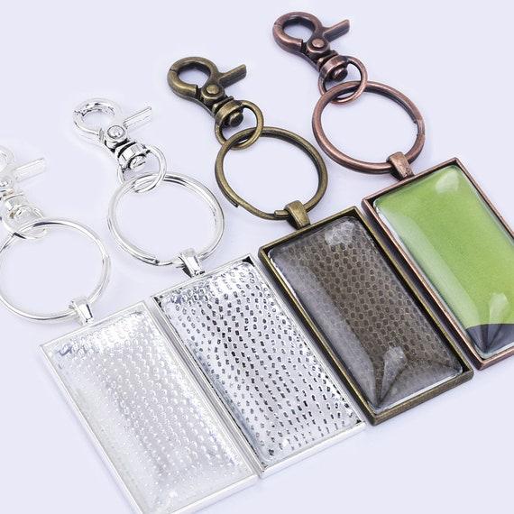 DIY KeyChain Pendant kits 10*50mm Rectangle Pendant Trays lobster clasp 5pcs//set