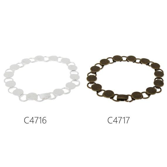 bracelet settings length 20.7cm 5PCS new design fit 10mm round cabochons bracelet base