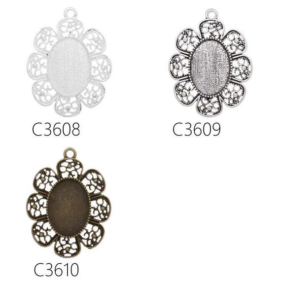 20PCS Flower Shape Zinc Alloy Cameo Cabochon Base Setting Pendants,fit 13x18mm cabochons