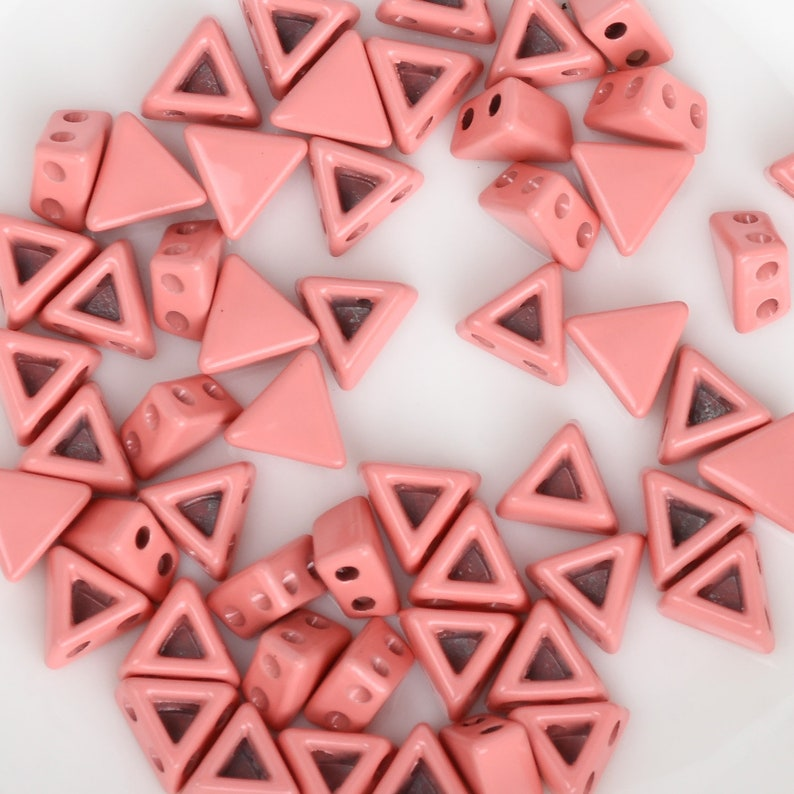 Triangle Shape 2-Hole Beads for Bracelets 5PCS 103236 7*7*4mm Enamel Tile Beads