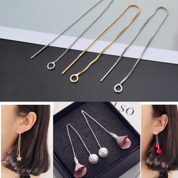 "3 5//8/"" Thread Earrings Threader Ear wires Earring Findings Dangle Chain 6pcs"