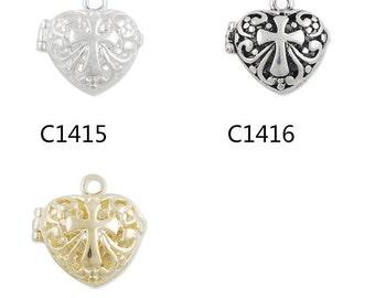 20 pcs 19x19 MM  Filigree Heart Brass Cage Pendant ,pearl cage,cage pendant