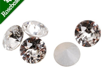 20PCS 12mm White Cushion Cut Foiled Crystal Round Fancy Stone CrystalFacetedStone 10025327