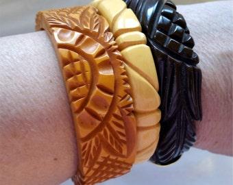 Vintage Bakelite Set of 3 Deeply Carved Bakelite Bracelets Catalin Bracelets 1940s Bangles Butterscotch, Deepest Dark Brown, & Ivory