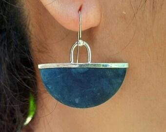 Indigo lover dangle earrings. Coconut organically dyed indigo set in recycled sterling silver. Lightweight dangle earrings. ebu Jewelry