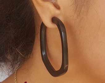 These Black hoop earrings are hand carved from horn with sterling silver posts, geometric circle lightweight hoop earrings.   Upcycled