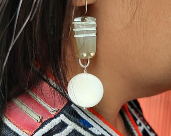 Dangly lightweight earrings. Hand carved with love for the Worldly woman. upcycled Sterling silver and cow bone and horn. Ethnic jewelry