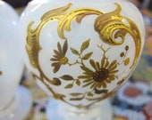 Pair Miniature Vases Antique French Opaline Glass Gold Embellished 4 quot H signed