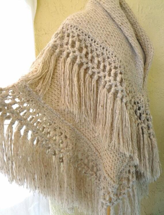 Heavy oatmeal color Natural Homespun Wool Shawl /… - image 5