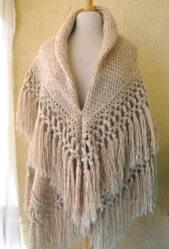 Heavy oatmeal color Natural Homespun Wool Shawl /