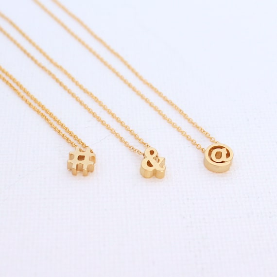 @ At # Hashtag /& Ampersand Gold  Silver Symbol Bracelet  Necklace Girlfriend Gift Hash Tag Apostrophe Puncutation Mark ej Comma