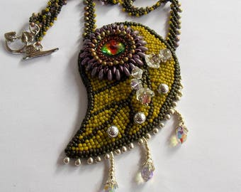Free Shipping , Bead Embroidery, Necklace, Statement jewelry, Seed bead necklace ,leaf pendant,swarovski, flower jewelry