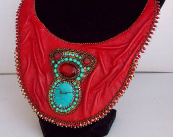 It's hot red collar, Statement necklace, Seed beaded jewelry, Bead Embroidery,Tibetan turquoise gemstone, Red leather necklace