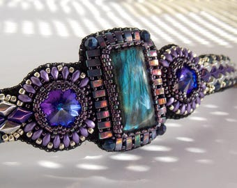 2018 year color: Ultra violet ,Labradorite bracelet , unique design cuff, bead embroidery , swarovski jewelry, unique style bracelet,