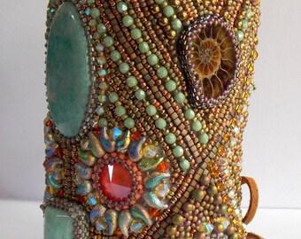 Extra wide bracelet, statement cuff, amazonite gemstone jewelry, ammonite bracelet, OOAK ,swarovski jewelry, swarovski cuff, unique bracelet