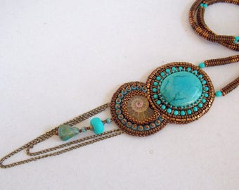 Fashion pendant, Statement jewelry, Ammonite necklace, Bead Embroidery, Seed bead necklace, Tibetan turquoise gemstone, free shipping