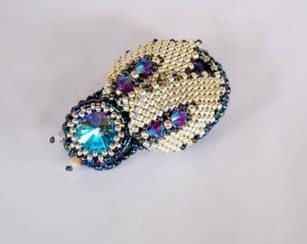 Beetle  brooch , 3D jewelry ,Bead Embroidery,  Brooch,  Seed bead jewelry, Elegant brooch,  Swarovski, Lapis lazuli,