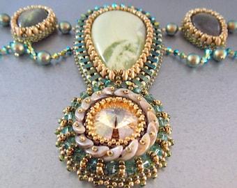 FREE SHIPPING , Bead Embroidery, Collar , Necklace ,Statement necklace, Seed beaded jewelry, Serpentine,  labradorite gemstone, Swarovski ,