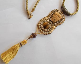 Free Shipping , Bead Embroidery, Necklace, Statement jewelry, Seed bead necklace ,Tiger eye, picture jasper, tassel,