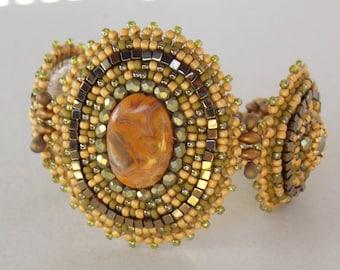 Sweet honey bracelet,Lace agate gemstone, Bead Embroidery, Bracelet , Statement cuff, Seed bead bracelet, Summer style