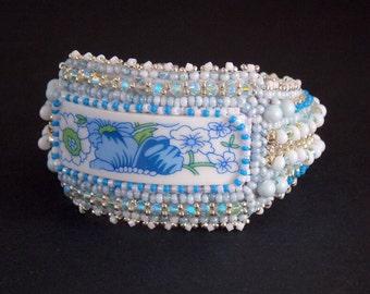 Free Shipping, Bead Embroidery, Bracelet, Statement cuff, Seed bead bracelet, Blue, white, Swarovski, porcelain