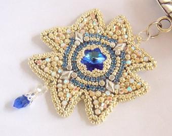 Scarf jewelery, scarf pendant, Bead embroidery, Pendant, Seed bead  jewelry, Trending style,  Swarovski,