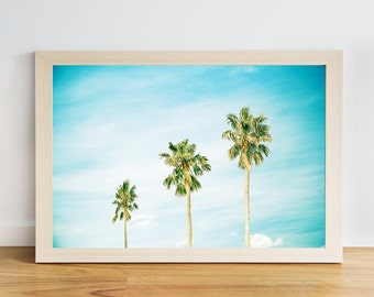 tropical print palm tree coastal decor coastal wall art palm tree decor beach photography nautical decor fine art photography blue aqua