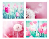 dandelion photography tulips dandelion print set 8x10 11x14 fine art photography nature nursery decor floral photography botanical pink aqua