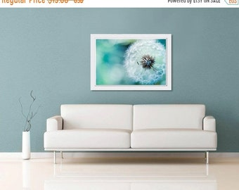 ON SALE Nature photography dandelion botanical wall art 11x14 16x24 20x30 large print dandelion photo blue green teal spring macro dreamy de