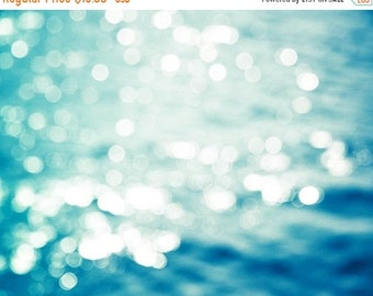 ON SALE bokeh photography sparkle abstract photography nautical decor 8x10 24x36 fine art photography water waves sparkle teal blue aqua oce