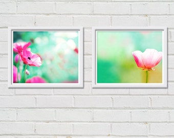 flower photography floral botanical print set of 2 8x10 nature photography fine art pink pastel poppy photos botanical photography mint aqu
