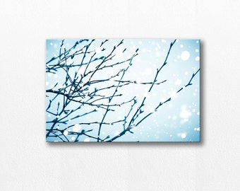 abstract canvas art winter photography canvas print 12x18 fine art photograph snow canvas gallery wrap nature photography canvas blue pastel