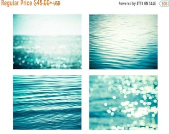 ON SALE nautical decor set abstract beach art ocean photography water ripples 8x10 11x14 fine art photography bokeh sparkle teal water wall