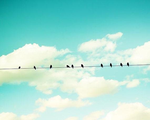 Vögel auf einem Draht Wand Kunst Vogel Dekor Kinderzimmer