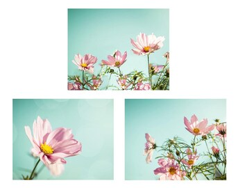flower photography floral botanical print set of 3 8x10 11x14 fine art photography nature pink photography nursery decor bedroom aqua mint