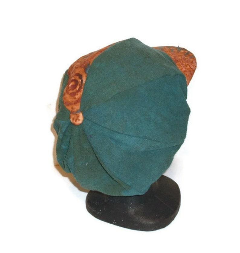 Newsboy Slouch Hat Hand Dyed Raw Silk Dark Teal