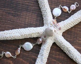 Freshwater pearl bracelet, clam shell charm bracelet, sterling silver and freshwater pearl bracelet, coin pearl bracelet