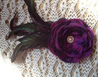 Purple Feathered Hair Clip With Rhinestone Accent