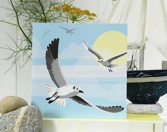 Flying Seagull Card - Blank, British Seaside, blank, birthday card