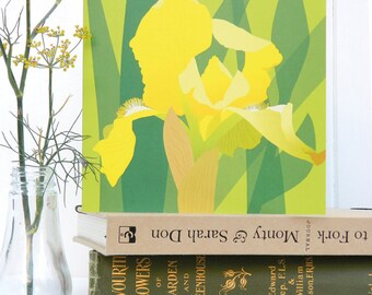 Yellow Bearded Iris Card - Spring, Easter, floral, birthday card