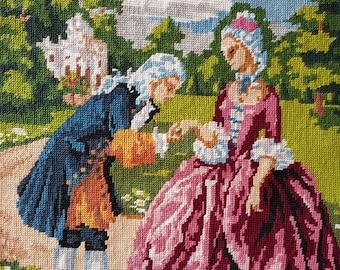 Vintage Français tapisserie - handkiss romantique au château - fini tapisserie à l'aiguille