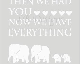 Gender Neutral Elephant Nursery Print, Twin Nursery Decor, Gender Neutral Nursery Decor, Gray and White Nursery Wall Art, Twin Baby Shower
